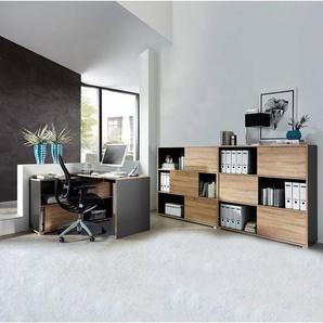 Büromöbel Set 3-teilig MANHATTEN-01 Anthrazit, Sonoma-Eiche-Nb.