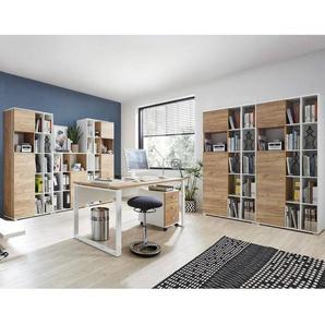 Büromöbel-Set GENT-01 in Navarra Eiche Nb. und weiß mit ABS Kanten und Schiebetüren BxHxT: 425x197x40cm