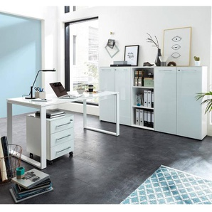 Büromöbel Set weiß mit Glasfronten MONTERO-01 Schreibtisch mit Container B x H x T ca.: 210 x 120 x 37 cm