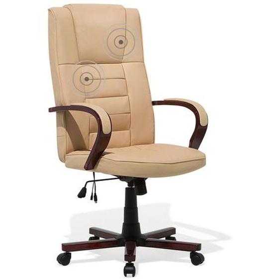 Bürostuhl beige Leder Massagefunktion Heizfunktion DIAMOND