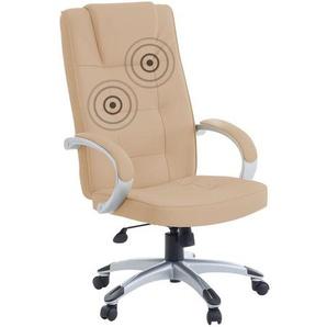 Bürostuhl beige Leder Massagefunktion Heizfunktion DIAMOND II
