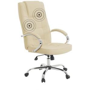 Bürostuhl beige/silber Leder Massagefunktion DIAMOND II