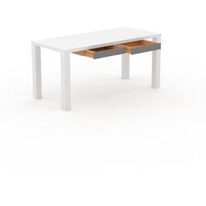 Bürotisch Massivholz Weiß - Moderner Massivholz-Bürotisch mit 2 Schublade/n - 160 x 76 x 70 cm, konfigurierbar