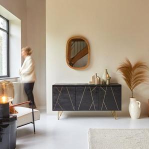 Buffet Highboard aus schwarzem Mangoholz mit goldenen Elementen Liv