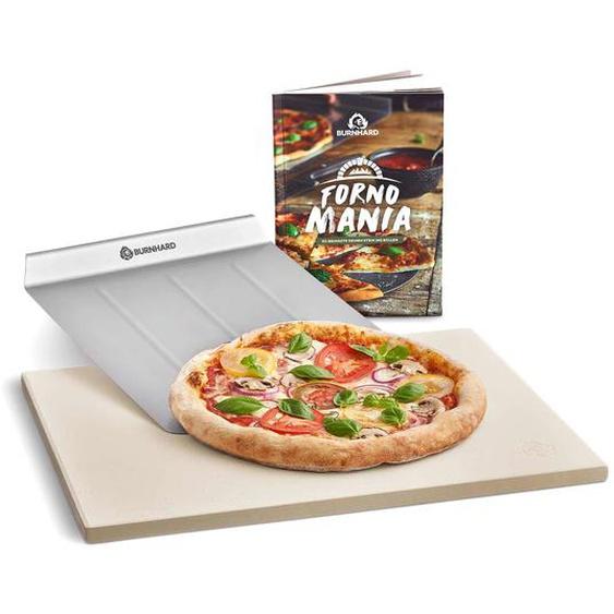 Burnhard Universal Pizzastein für Backofen & Grill aus Cordierit 45 x 35 x 1.5 cm inkl. Pizzaschieber