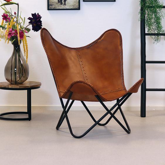 Butterfly Chair Leder Livin cognac