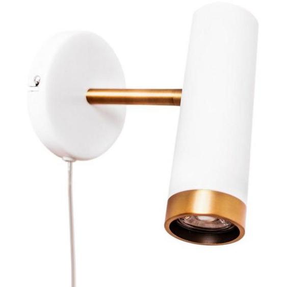 By-Rydens Wandleuchte , Weiß, Gold , Metall, Kunststoff , 12x20x18 cm