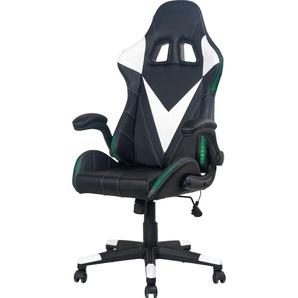 byLIVING Gaming Chair Space, Chefsessel mit LED Beleuchtung und Verstellbarkeit Kunstleder, schwarz / weiss Gamingstühle Bürostühle Stühle Sitzbänke