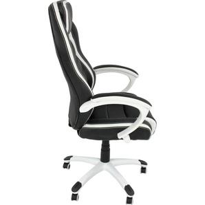 byLIVING Gaming Chair Sydney, gemütlicher Chefsessel mit hohem Rücken und Wippmechanik Kunstleder-Netzstoff, schwarz / weiss Gamingstühle Bürostühle Stühle Sitzbänke