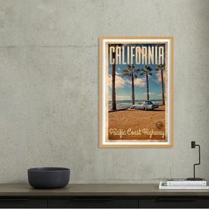 California Vintage Travel, gerahmter Kunstdruck (A1), Mehrfarbig