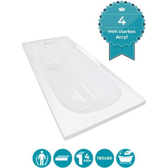 Calmwaters® Rechteck-Badewanne 180x80 cm, Acrylwanne Original, ergonomische Körperformbadewanne, Maße 180 x 80 cm, Rechteckbadewanne Weiß - 01SL3353