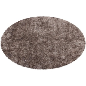 calo-deluxe Hochflor-Teppich Masada 900, rund, 40 mm Höhe, Wohnzimmer Ø 160 cm, 1 St. braun Esszimmerteppiche Teppiche nach Räumen