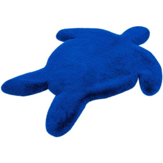 calo-deluxe Kinderteppich Kids-1001, Motivform, 36 mm Höhe, Kunstfell, Motiv Schildkröte 41, 68x90 cm, blau Shaggy-Teppiche Hochflor-Teppiche Teppiche