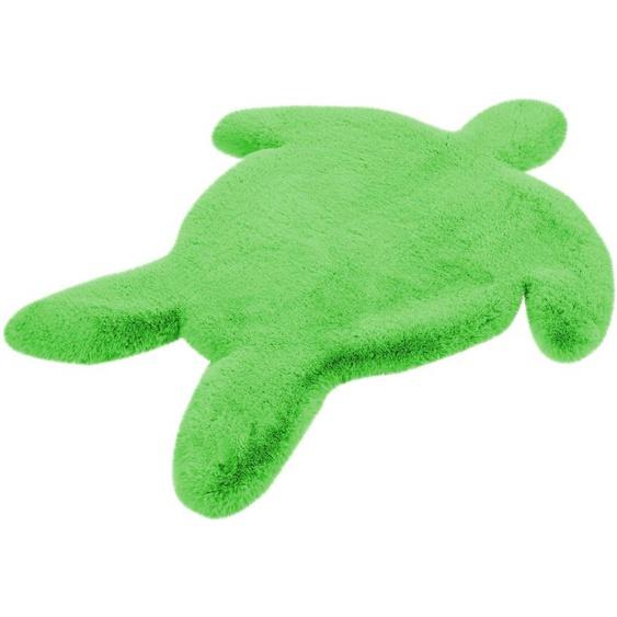 calo-deluxe Kinderteppich Kids-1001, Motivform, 36 mm Höhe, Kunstfell, Motiv Schildkröte 41, 68x90 cm, grün Shaggy-Teppiche Hochflor-Teppiche Teppiche