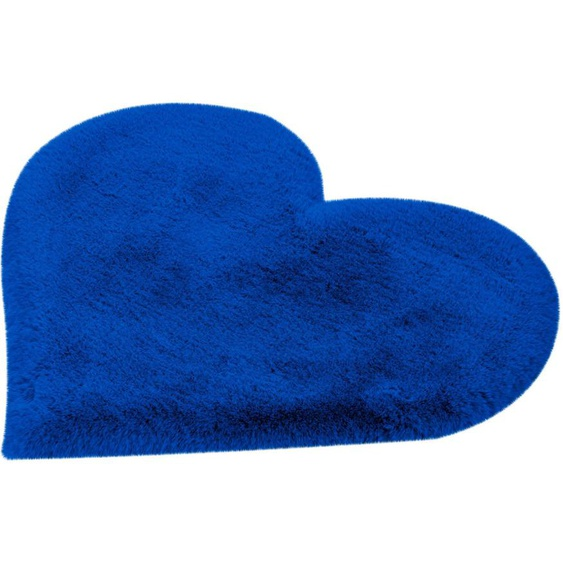 calo-deluxe Kinderteppich Kids-1100, herzförmig, 36 mm Höhe, Kunstfell, Motiv Herz 41, 60x70 cm, blau Shaggy-Teppiche Hochflor-Teppiche Teppiche