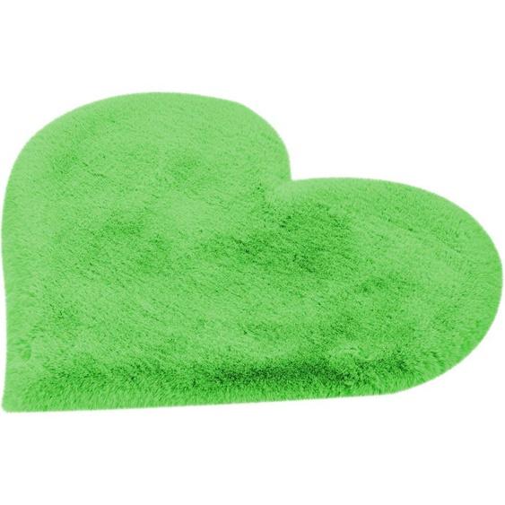 calo-deluxe Kinderteppich Kids-1100, herzförmig, 36 mm Höhe, Kunstfell, Motiv Herz 41, 60x70 cm, grün Shaggy-Teppiche Hochflor-Teppiche Teppiche