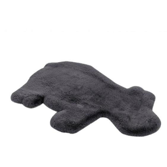 calo-deluxe Kinderteppich Kids-350, Motivform, 36 mm Höhe, Kunstfell, Motiv Nilpferd 41, 55x90 cm, grau Shaggy-Teppiche Hochflor-Teppiche Teppiche