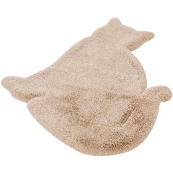 calo-deluxe Kinderteppich Kids-650, Motivform, 36 mm Höhe, Kunstfell, Motiv Katze 41, 81x90 cm, beige Shaggy-Teppiche Hochflor-Teppiche Teppiche