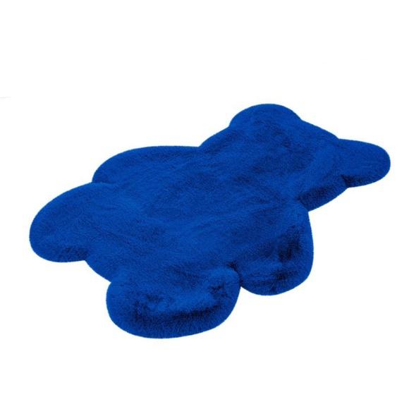 calo-deluxe Kinderteppich Kids-850, Motivform, 36 mm Höhe, Kunstfell, Motiv Teddy 41, 73x90 cm, blau Shaggy-Teppiche Hochflor-Teppiche Teppiche