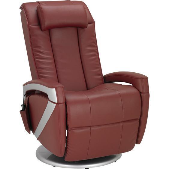 Cantus Massagesessel Kombination Echtleder/Lederlook Lederlook Rot , Textil, Leder , 77x70 cm