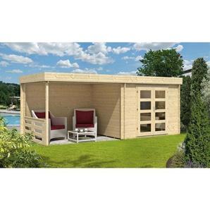 Carlsson - Flachdach Gartenhaus aus Holz Neustadt , mit Imprägnierung , Imprägnierung ab Werk:Farbe Pinie/Kiefer|Wandstärke:40 mm