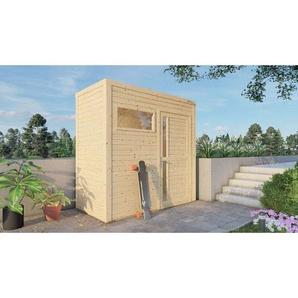Garten- und Gerätehaus Design Cube , Farbbehandlung Hellgrau