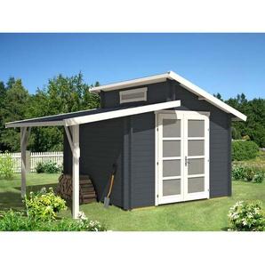 Carlsson - Gartenhaus aus Holz Aktiva mit Schleppdach , mit Imprägnierung , Ohne Schutz-Imprägnierung:Mit Imprägnierung (Pinie)|Wandstärke:40 mm Wandstärke