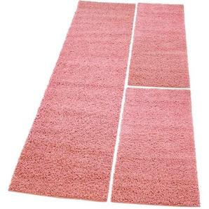 Carpet City Bettumrandung »Pastell Shaggy300«, 14 (2x Brücke 140x70 cm & 1x Läufer 250x70 cm), 30 mm Gesamthöhe, rosa