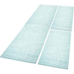 Carpet City Bettumrandung »Pastell Shaggy300«, 14 (2x Brücke 140x70 cm & 1x Läufer 250x70 cm), 30 mm Gesamthöhe, blau