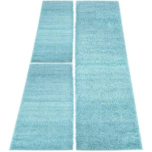 Carpet City Bettumrandung »Shaggi uni 500«, 14 (2x Brücke 150x80 cm & 1x Läufer 300x80 cm), 30 mm Gesamthöhe, blau
