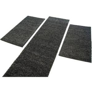 Carpet City Bettumrandung »Shaggi uni 500«, 14 (2x Brücke 150x80 cm & 1x Läufer 300x80 cm), 30 mm Gesamthöhe, grau