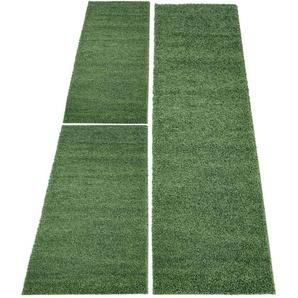 Carpet City Bettumrandung »Shaggi uni 500«, 14 (2x Brücke 150x80 cm & 1x Läufer 300x80 cm), 30 mm Gesamthöhe, grün