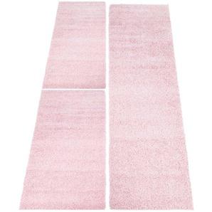 Carpet City Bettumrandung »Shaggi uni 500«, 14 (2x Brücke 150x80 cm & 1x Läufer 300x80 cm), 30 mm Gesamthöhe, rosa