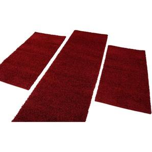 Carpet City Bettumrandung »Shaggi uni 500«, 14 (2x Brücke 150x80 cm & 1x Läufer 300x80 cm), 30 mm Gesamthöhe, rot
