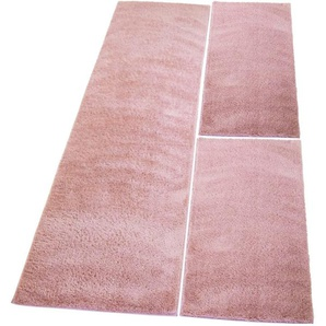 Carpet City Bettumrandung »Softshine 2236«, 14 (2x Brücke 150x80 cm & 1x Läufer 300x80 cm), 30 mm Gesamthöhe, rosa