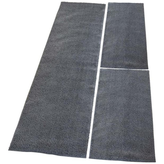 Carpet City Bettumrandung Softshine 2236, besonders weich durch Microfaser B/L (Brücke): 80 cm x 150 (2 St.) (Läufer): 300 (1 St.), rechteckig grau Bettumrandungen Läufer Teppiche