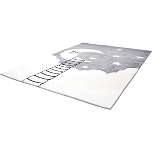 Carpet City Kinderteppich Bueno Kids 1314, rechteckig, 13 mm Höhe, Mond Sterne, handgearbeiteter Konturenschnitt B/L: 160 cm x 230 cm, 1 St. grau Kinder Kinderteppiche mit Motiv Teppiche