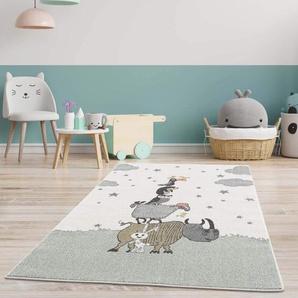 carpet city Kinderteppich Tiere - Eule Schaf Tucan 160x230 cm Creme - Kinderzimmer Teppich Modern