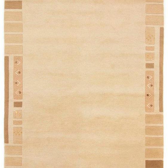 carpetfine Wollteppich Nepal Jaipur, rechteckig, 20 mm Höhe, reine Wolle, handgeknüpft, Wohnzimmer B/L: 170 cm x 240 cm, 1 St. beige Schurwollteppiche Naturteppiche Teppiche