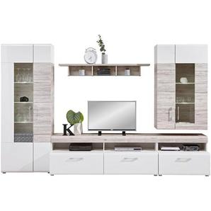 Carryhome: Wohnwand, Glas, Holzwerkstoff, Eiche, Weiß, B/H/T 330 209 52