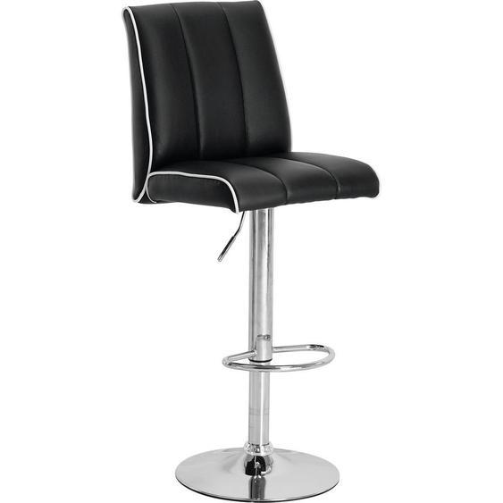 Carryhome Barhocker Lederlook Weiß , Metall , 42x97-118x56 cm