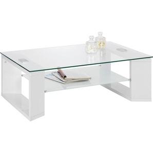 Carryhome Couchtisch , Weiß, Weiß hochglanz , Glas , rechteckig , eckig , 70x38 cm , Wohnzimmer, Wohnzimmertische, Couchtische