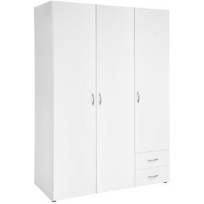 Carryhome Drehtürenschrank , Weiß , Holzwerkstoff , 3 Fächer , 2 Schubladen , 121x177x52 cm , Schlafzimmer, Kleiderschränke, Drehtürenschränke