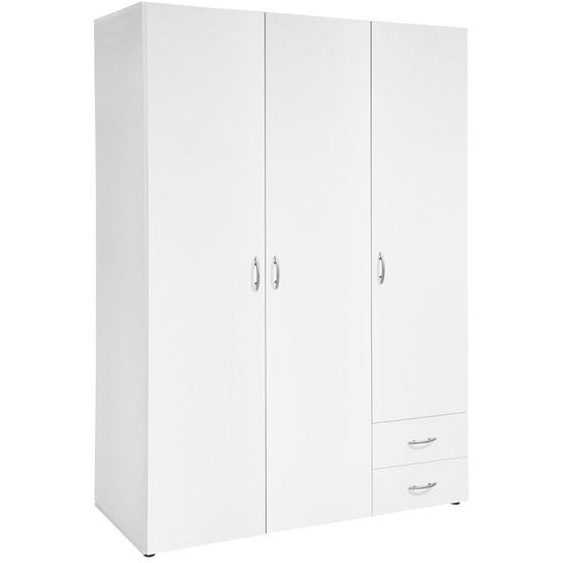 Carryhome Drehtürenschrank 3-türig Weiß , Holzwerkstoff , 2 Schubladen , 121x177x52 cm