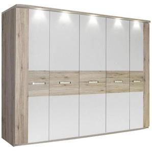 Carryhome: Drehtürenschrank, Holzwerkstoff, Weiß, Eiche, B/H/T 250 214 59