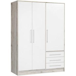 Carryhome: Kleiderschrank, Holzwerkstoff, Weiß, Eiche, B/H/T 145 200 60