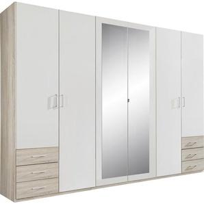 Carryhome: Drehtürenschrank, Holzwerkstoff, Weiß, Eiche, B/H/T 270 208 58
