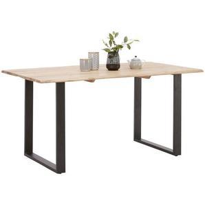 Carryhome Esstisch , Schwarz, Akazie , Holz, Metall , Akazie , massiv , rechteckig , Kufe , 90x76 cm , Esszimmer, Tische, Esstische