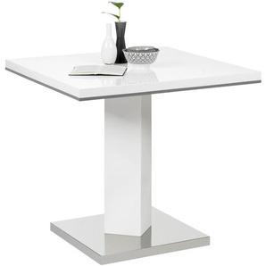 Carryhome Esstisch , Grau, Weiß, Edelstahl , Metall , quadratisch , Säule, Bodenplatte , 80x76 cm , Esszimmer, Tische, Esstische