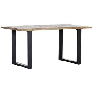 Carryhome Esstisch , Natur , Holz , Mangoholz , massiv , rechteckig , Kufe , 90x76 cm , Esszimmer, Tische, Esstische